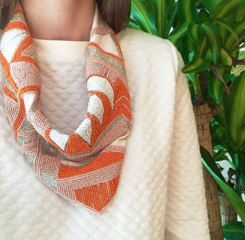 Mercer Beaded Scarf Necklace in Tangerine/Peach