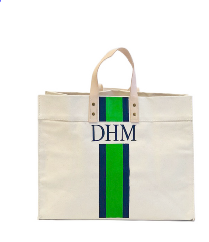 Monogrammed Canvas Box Tote