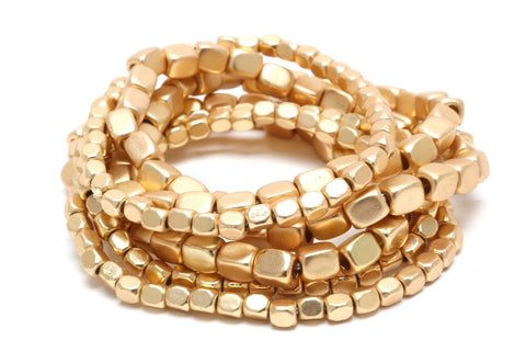 Pebble Stacking Bracelets in Gold