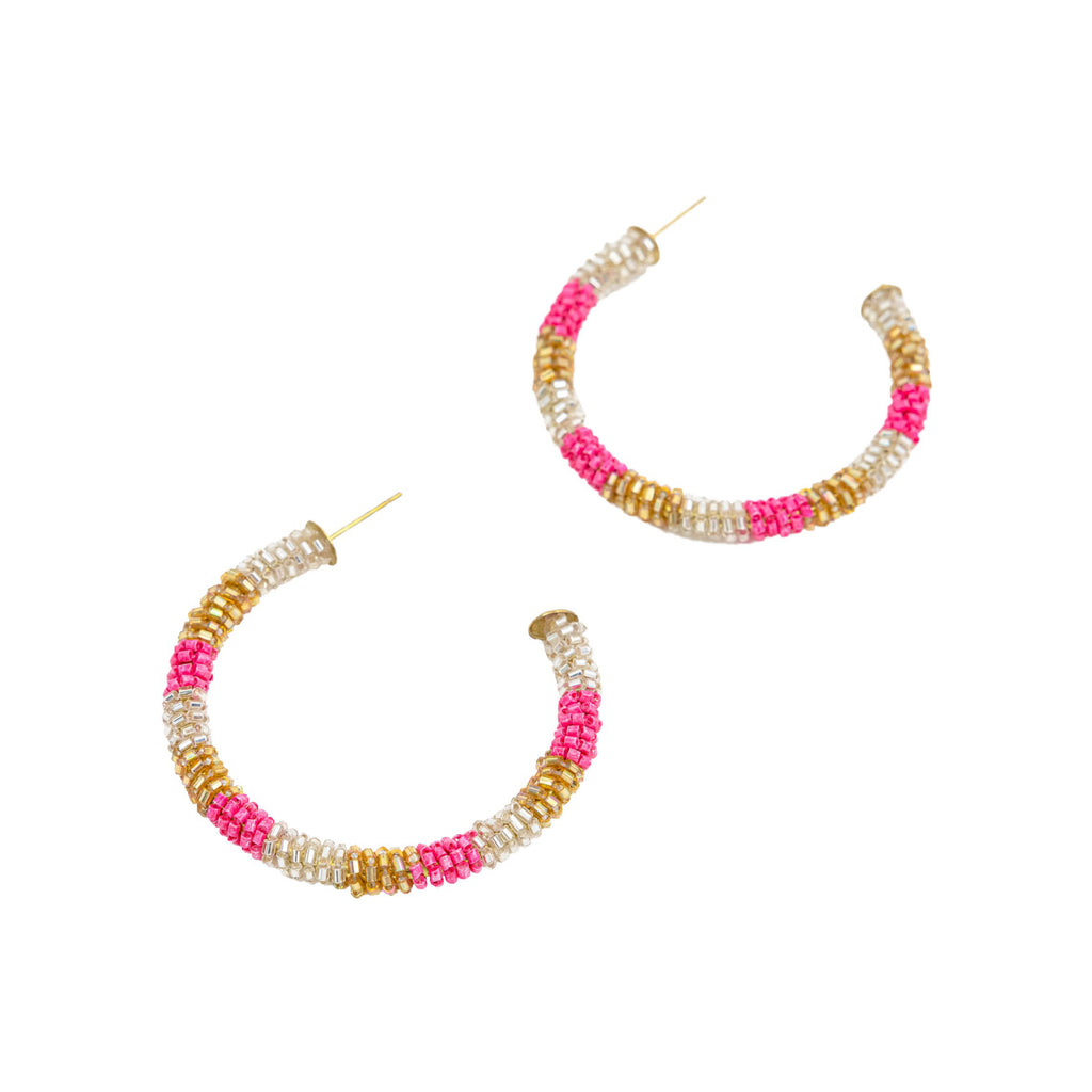 Handmade Hoops in Pink and Gold