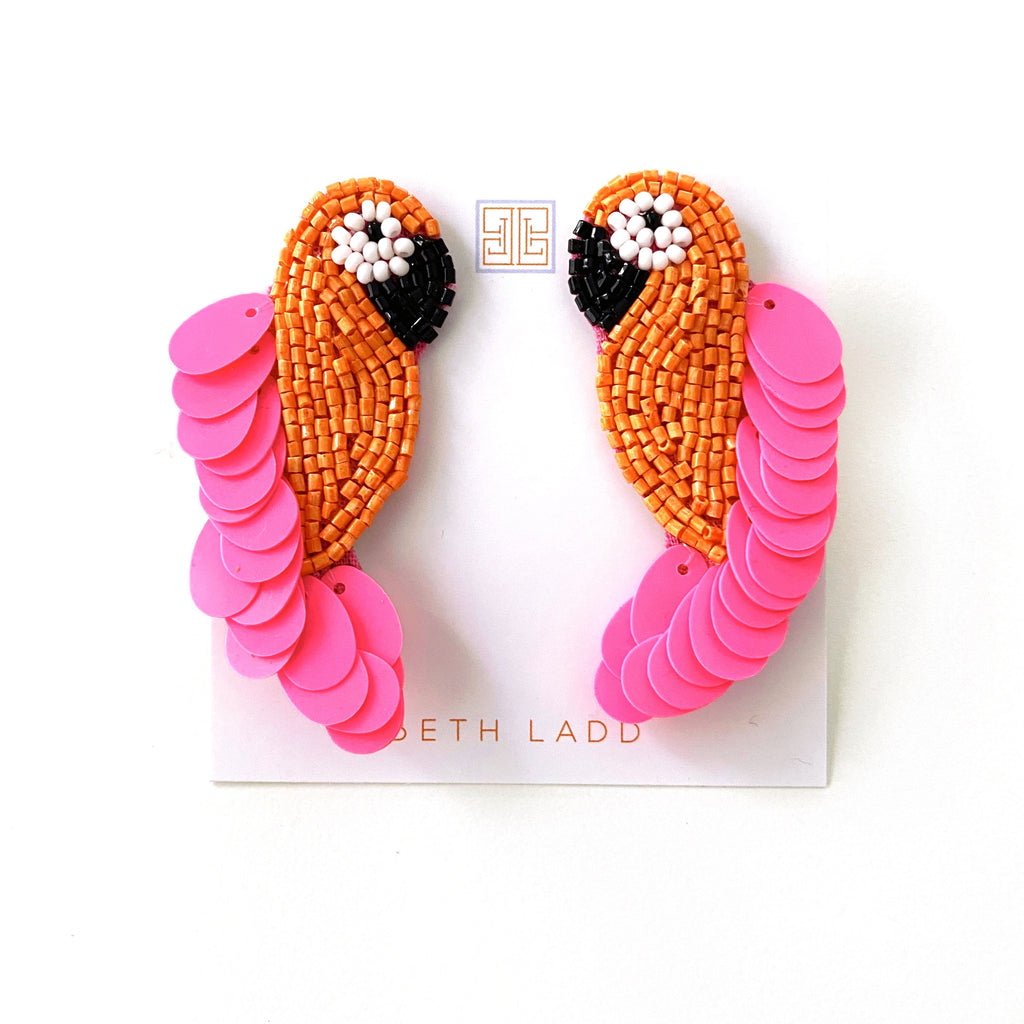 Pink/Orange Parrot Earrings