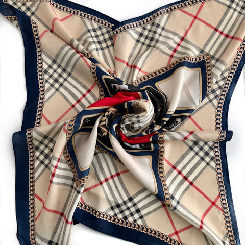 Faux Silk Scarf - RED, NAVY, BEIGE