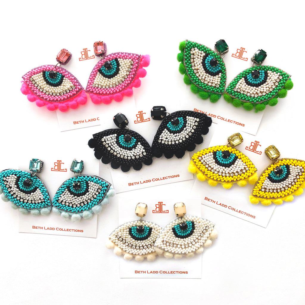 Evil Eye Pom Pom Earrings - CLICK FOR ALL COLORS