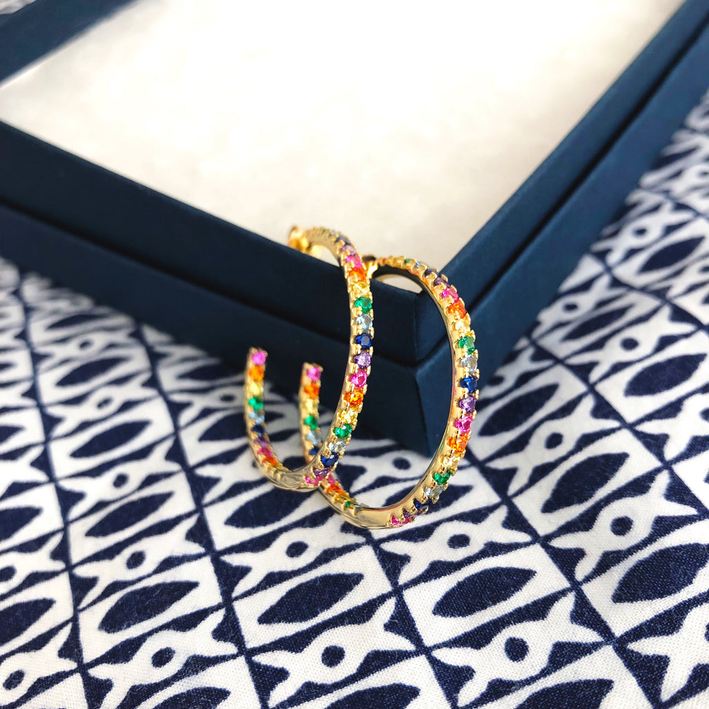 Rainbow Hoops (Gold Coated Sterling Silver)