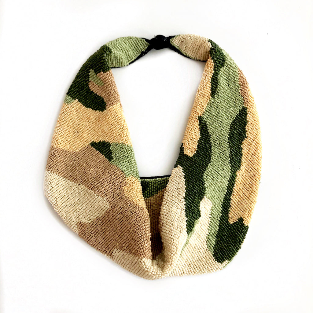 Mercer Beaded Scarf Necklace in Green Camo