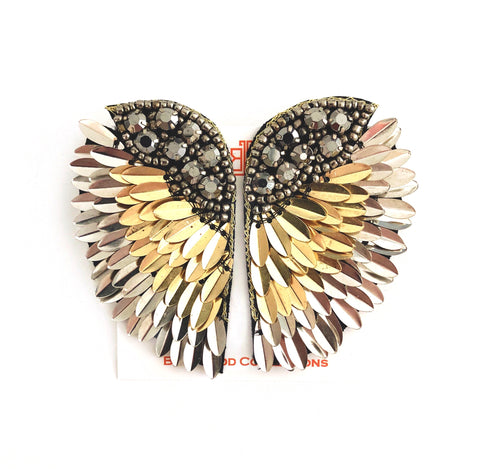 Seraphine Wing Earrings in Silver/Gold
