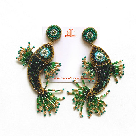 Handmade Asian Fish Earrings in Green