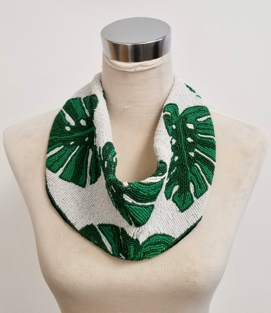 Mercer Beaded Scarf Necklace - Palm Leaf