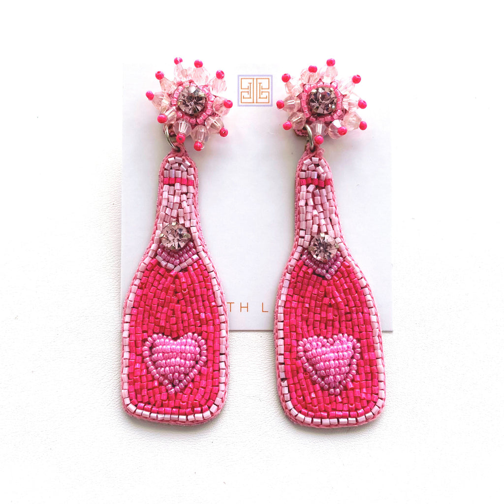 Hot Pink / Light Pink Champagne Earrings