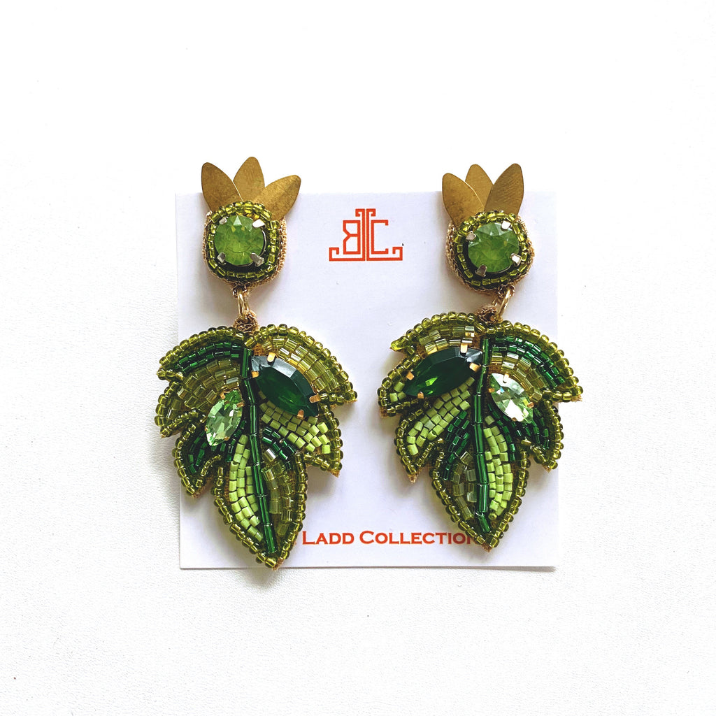 Tropical Leaf Earrings in Green/Gold