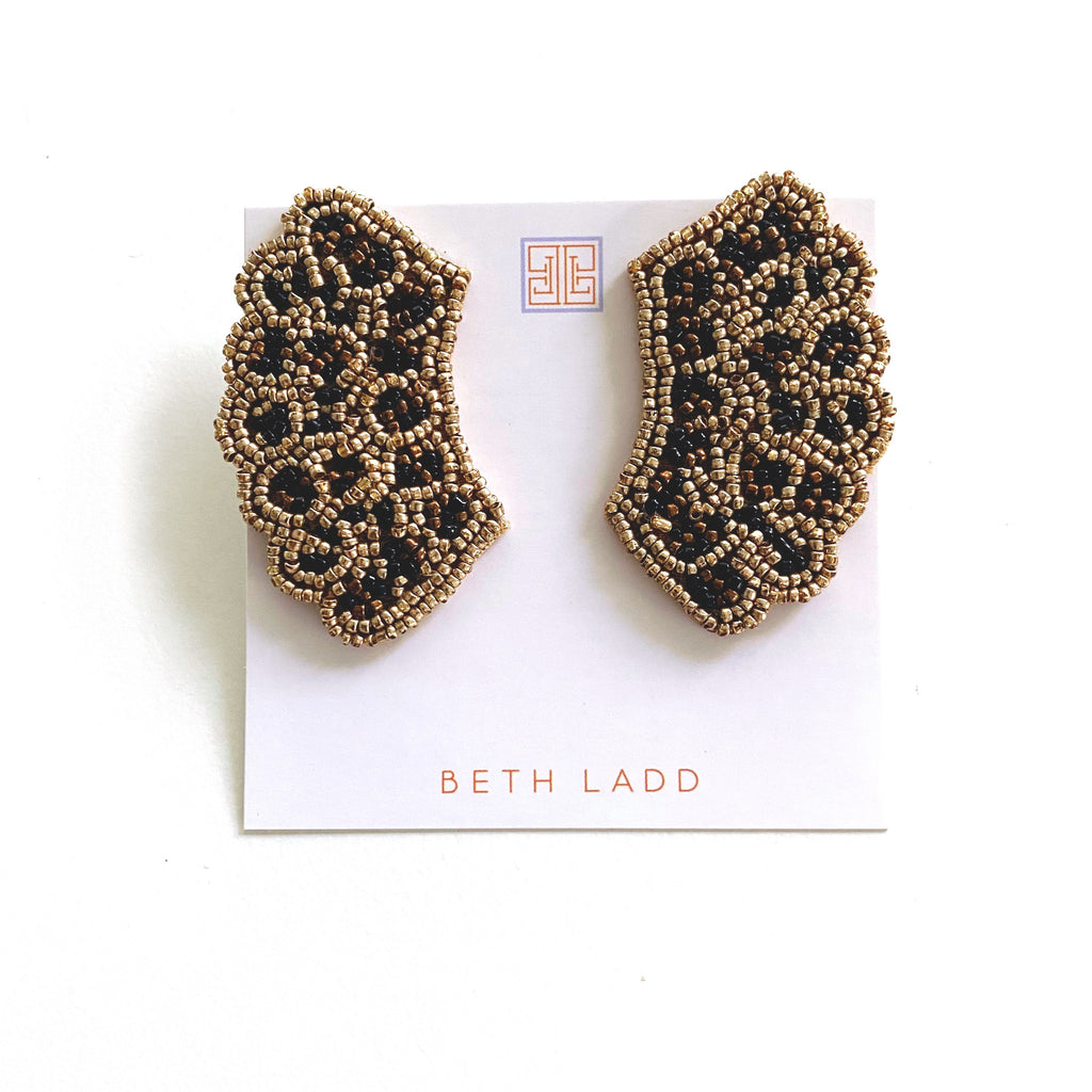 RBG Earrings in Gold Leopard