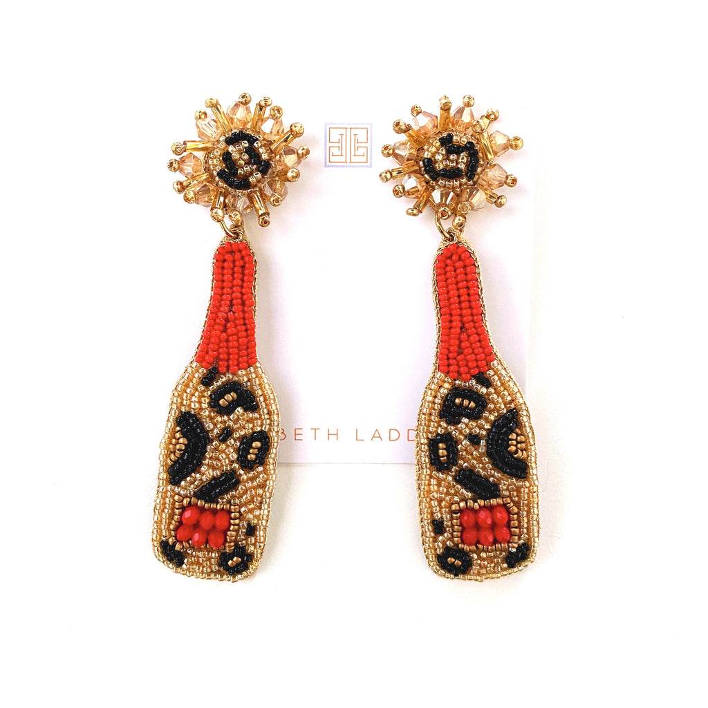 Leopard Champagne Bottle Earrings