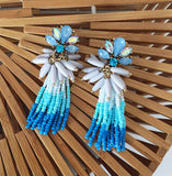 Sadie Tassel Earrings in Blue