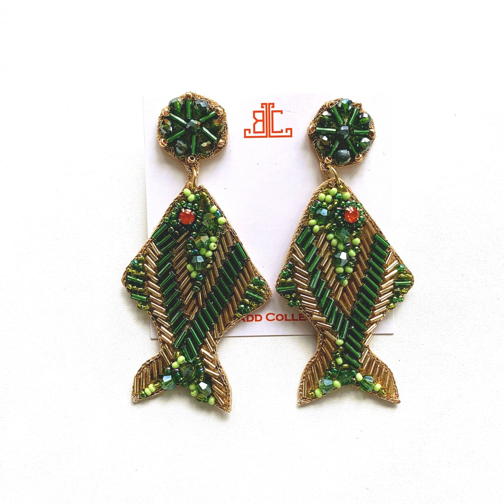 Green and Gold Fish Earrings