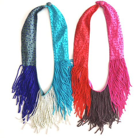 Claire Beaded Fringe Necklace in Royal Blue/White/Bright Blue