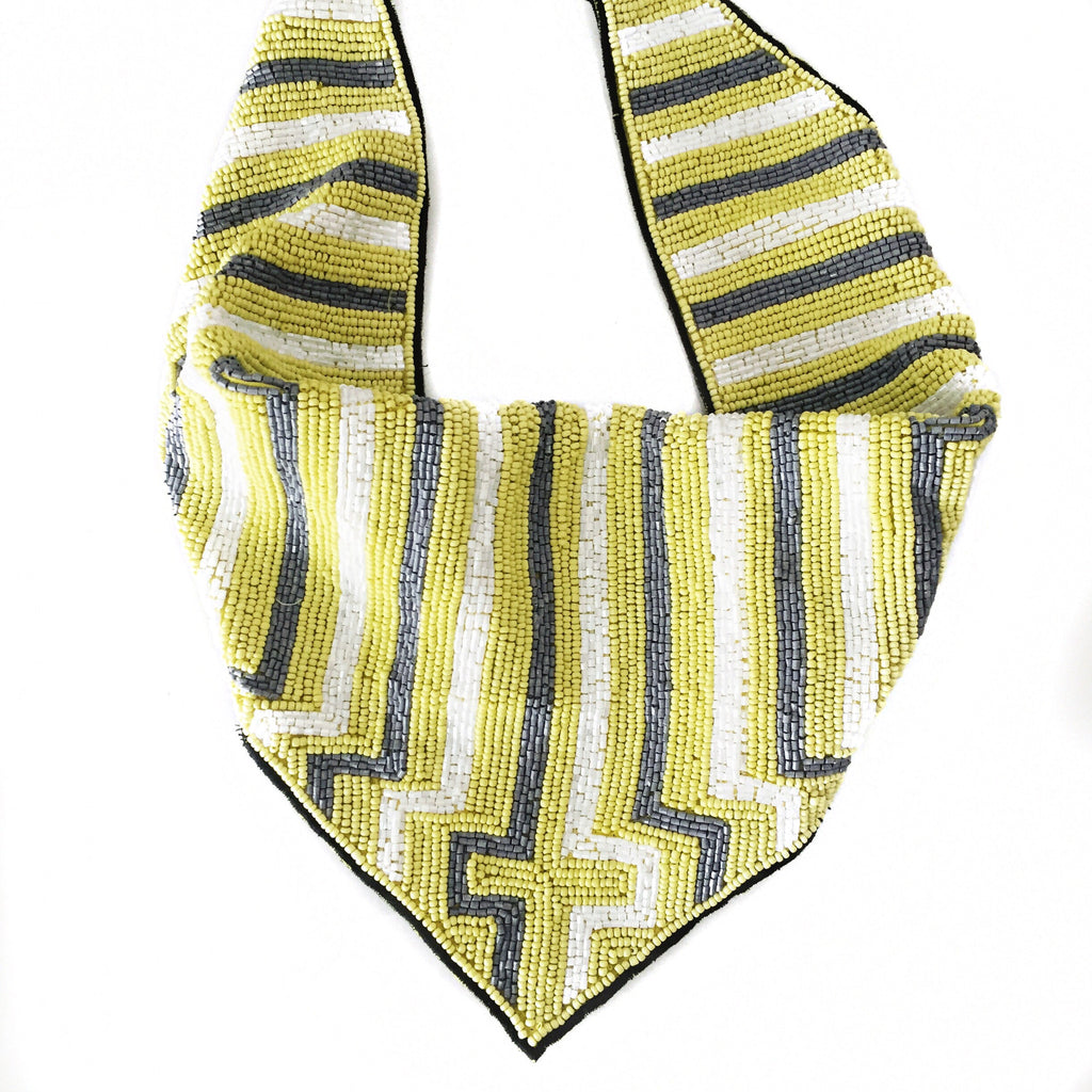 Mercer Beaded Scarf Necklace in Yellow, White and Gray