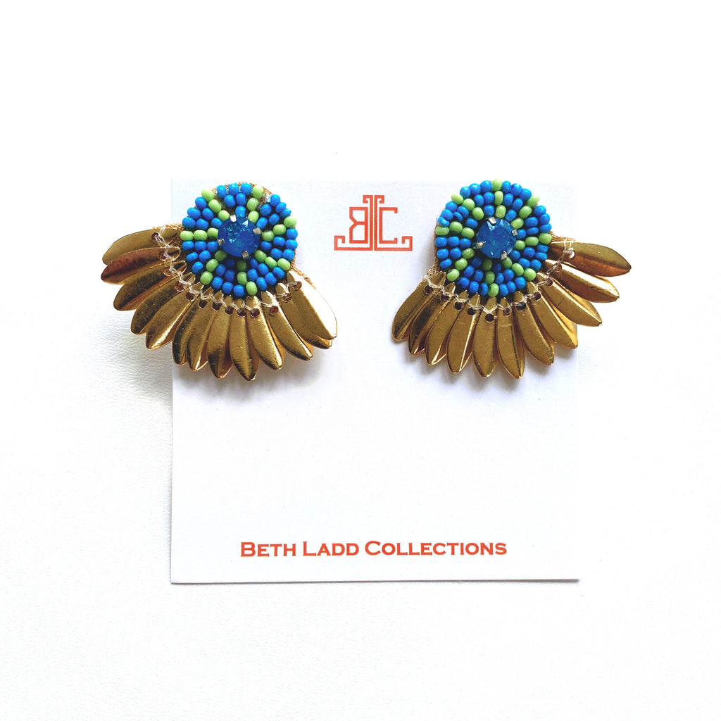 Button Studs in Blue/Green