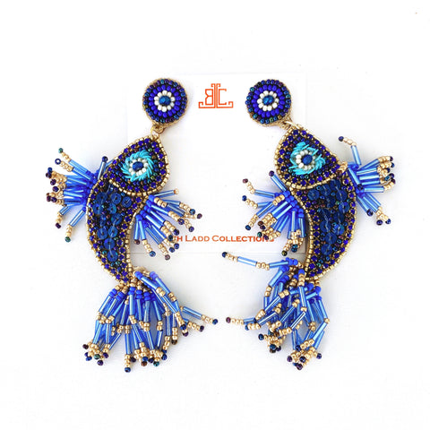 Handmade Asian Fish Earrings in Blue