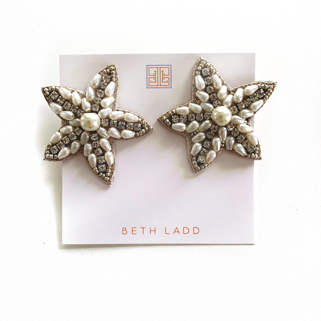 Silver and Pearl Star Studs