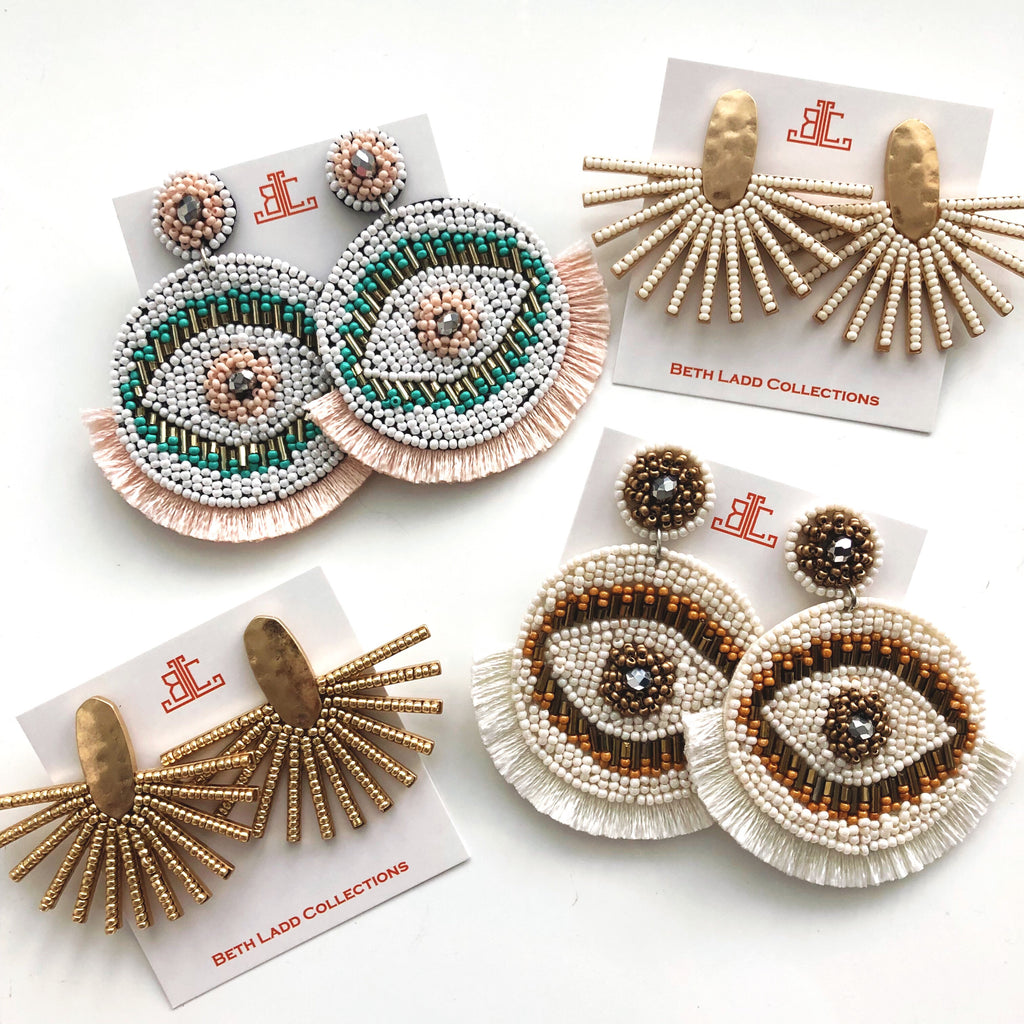 Evil Eye Fringe Earrings - CLICK FOR BOTH COLORS