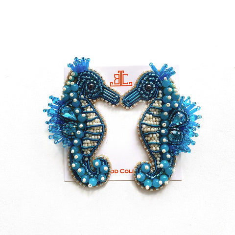 Blue Seahorse Earrings