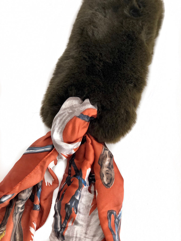 Faux Fur + Silk Scarf - DARK BROWN/OLIVE