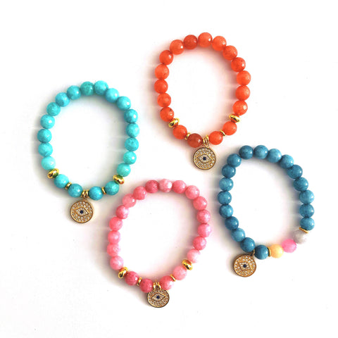 Evil Eye Stacking Bracelet - CLICK FOR ALL COLOR OPTIONS