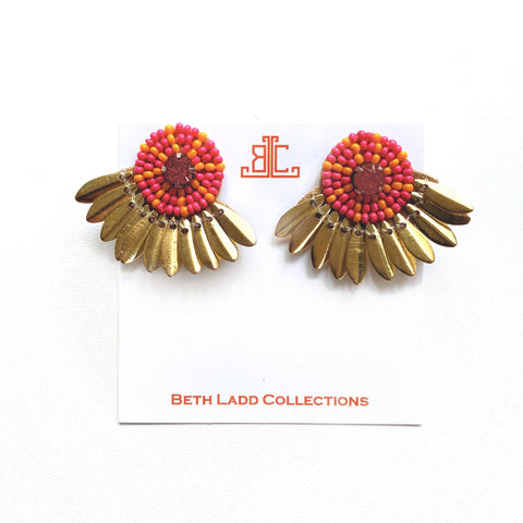Button Studs in Pink/Orange