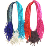 Claire Beaded Fringe Necklace in Red/Pink/Dark Gray