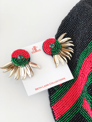 Hattie Earrings in Red/Green/Gold