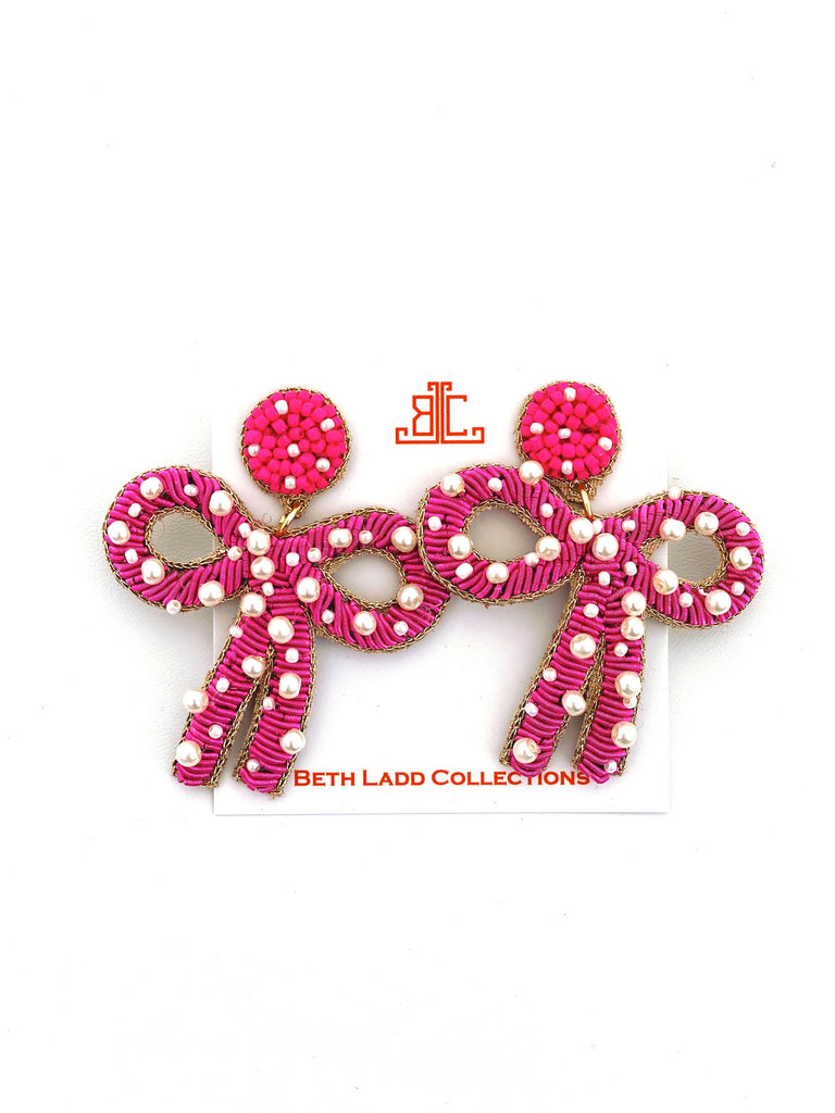 Pink / Pearl Bow Earrings