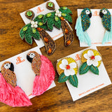 Raffia Parrot Earrings in Pink/Orange