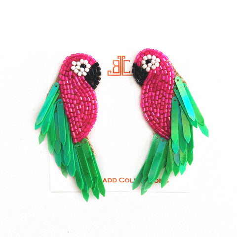Handmade Pink & Green Parrot Earrings