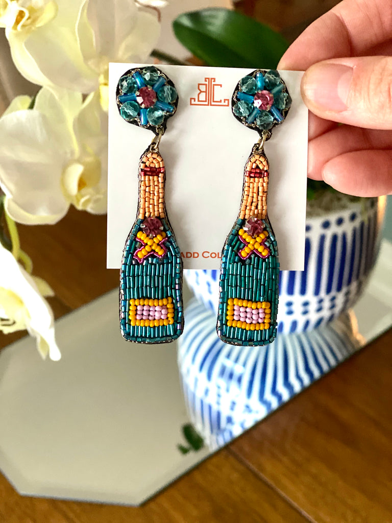 Teal and Orange Champagne Earrings