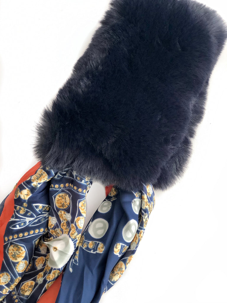 Faux Fur + Silk Scarf - NAVY BLUE