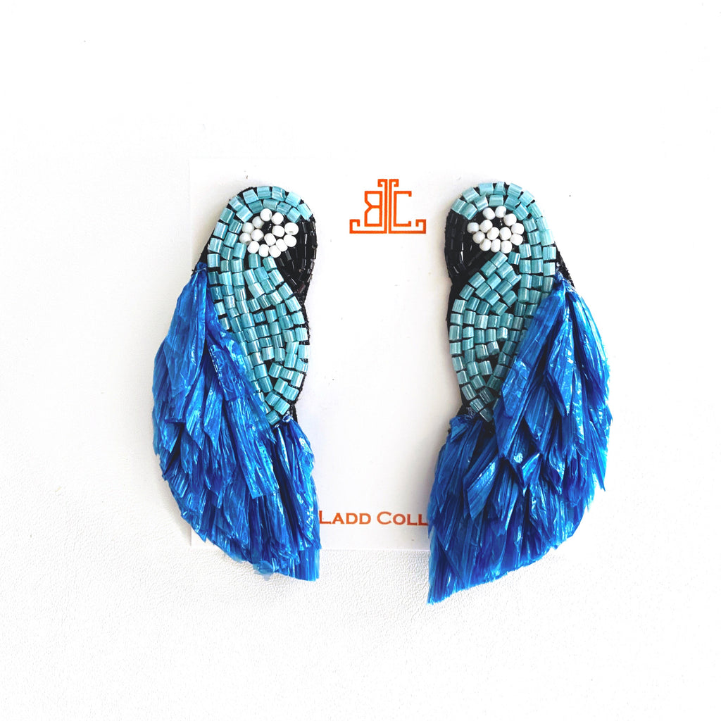 Raffia Parrot Earrings in Blue/Turquoise