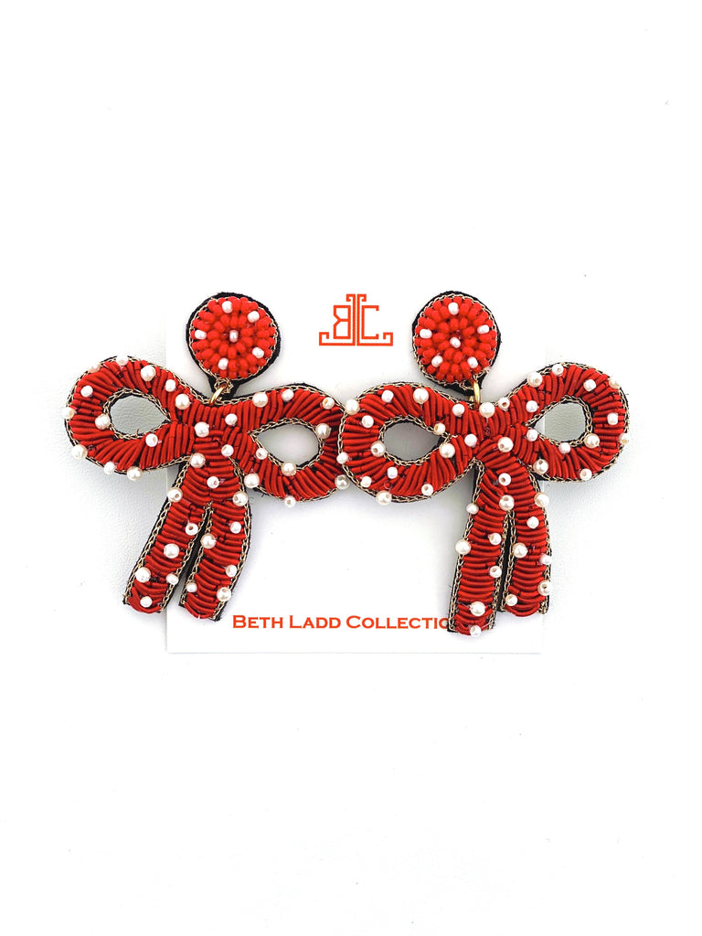 Red / Pearl Bow Earrings