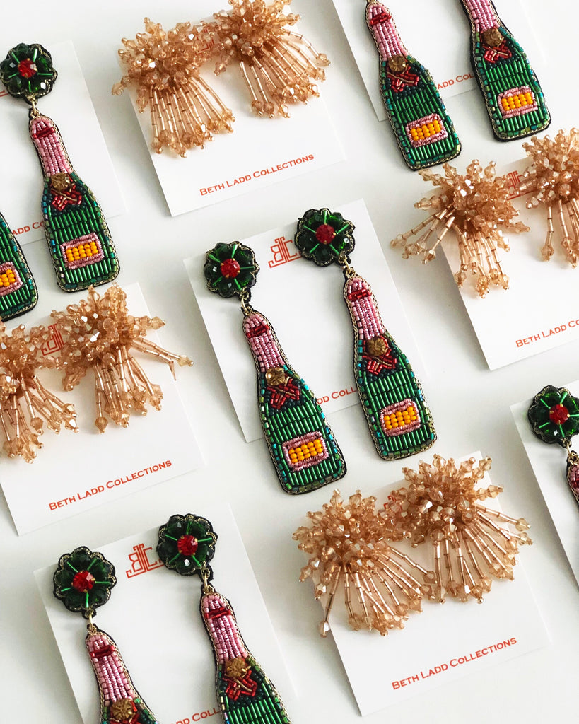 Green, Pink, Orange & Red Champagne Bottle Earrings