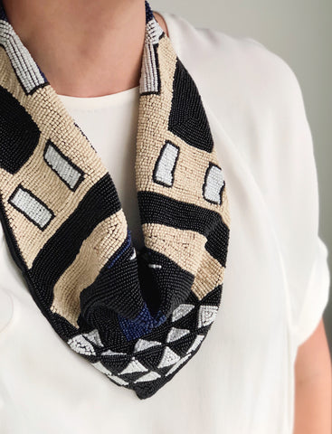 Mercer Beaded Scarf Necklace in Ecru, Black & Navy