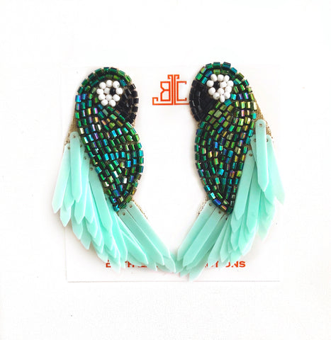 Emerald & Mint Parrot Earrings