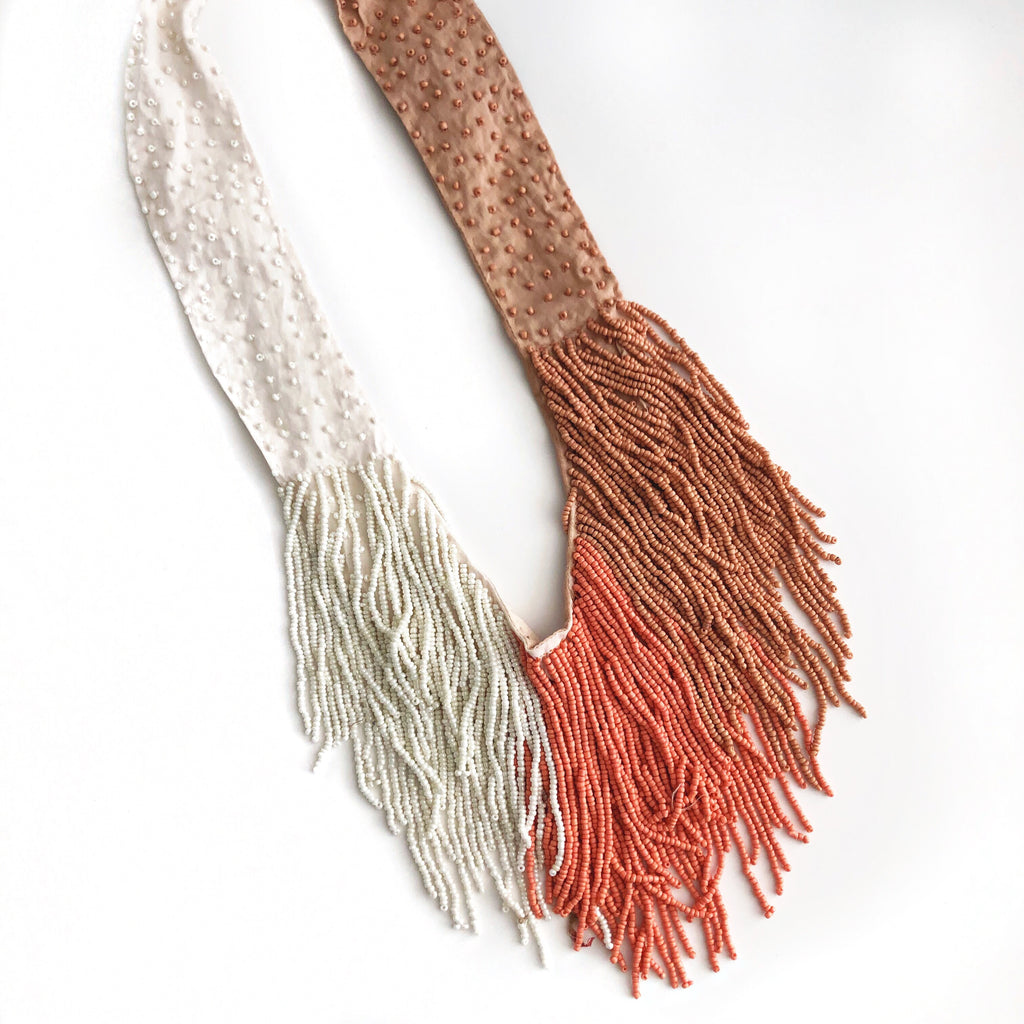 Claire Beaded Fringe Necklace in Ivory/Beige/Peach