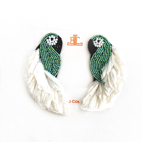 Raffia Parrot Earrings in Green/White