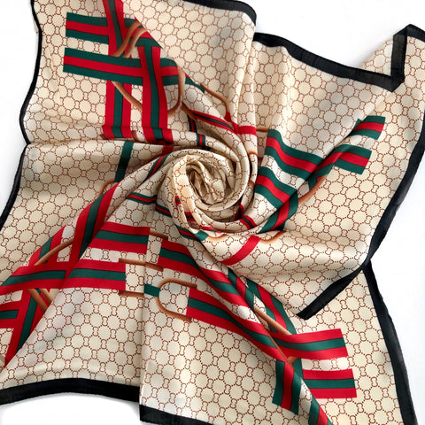 Faux Silk Scarf - RED, GREEN, BEIGE
