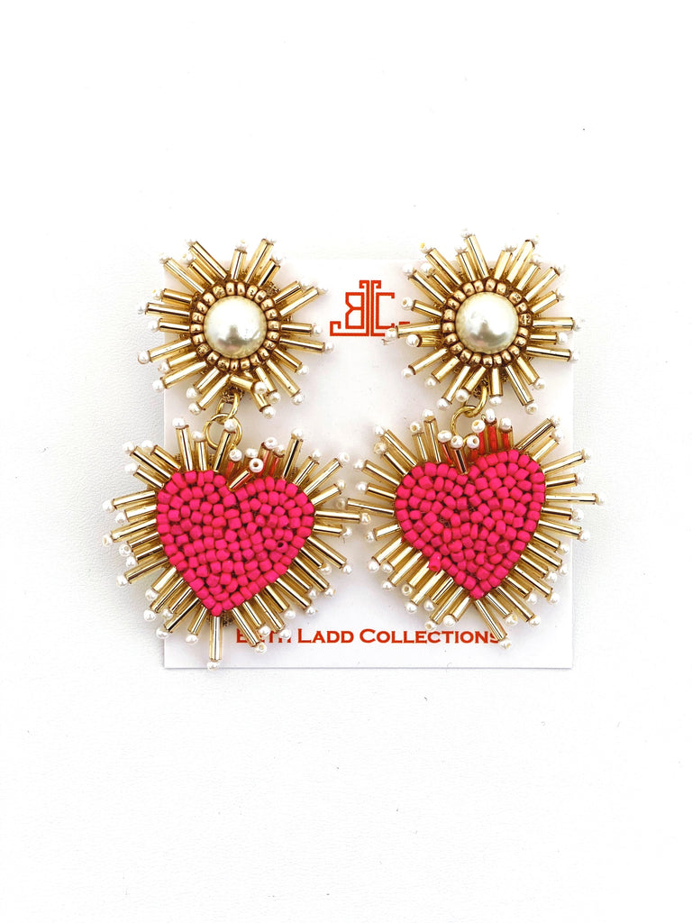 Hot Pink / Pearl Heart Earrings