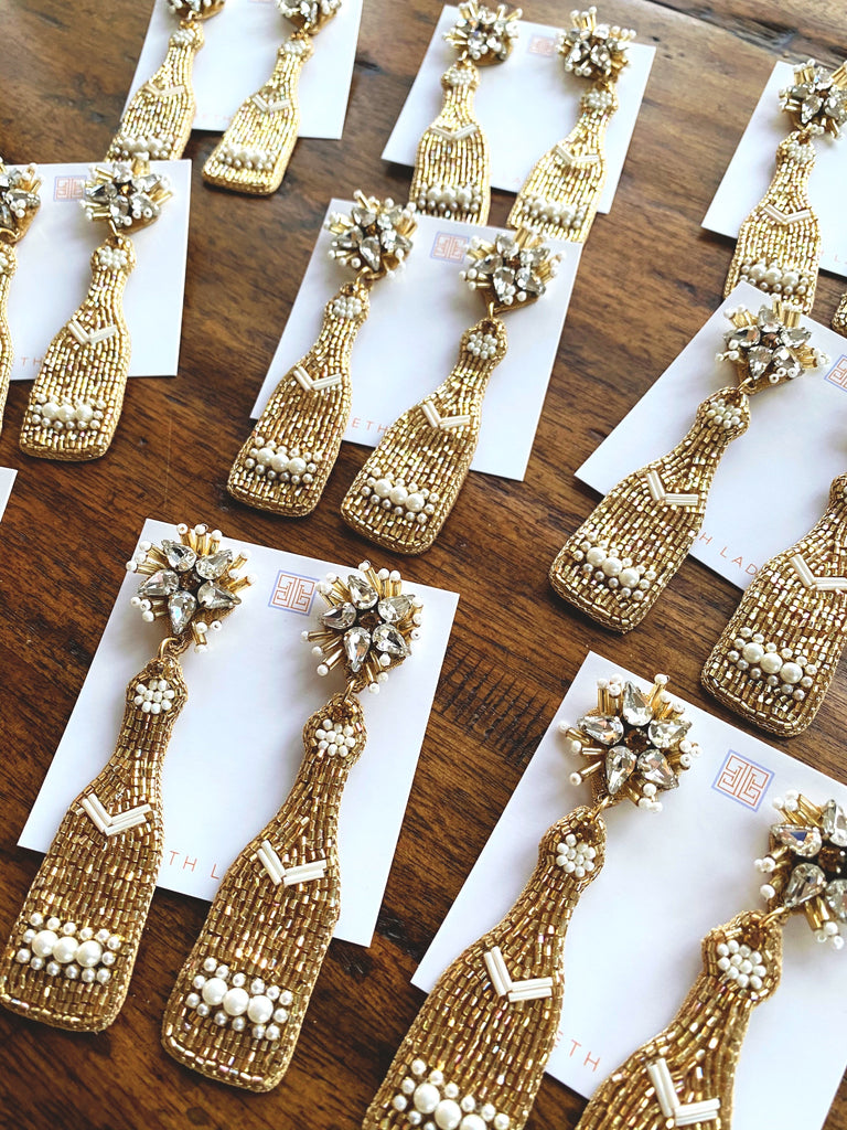 Gold and Pearl Champagne Bottle Earrings