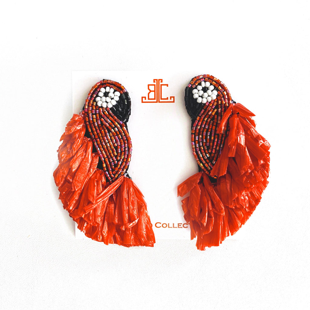 Raffia Parrot Earrings in Red