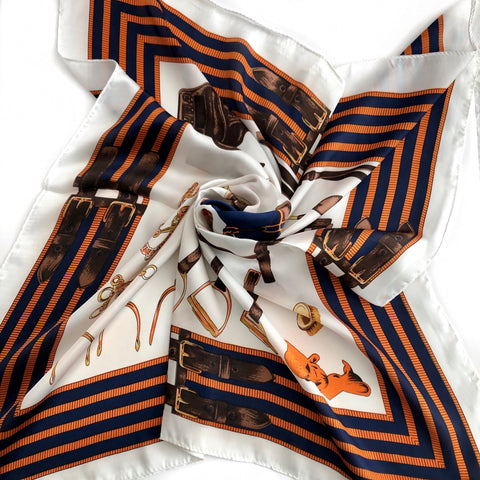 Faux Silk Scarf - WHITE, NAVY, ORANGE