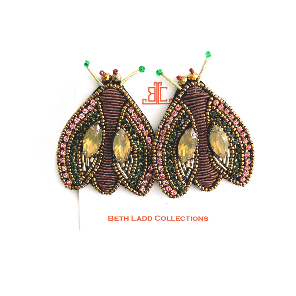 Brown Beetle Earrings