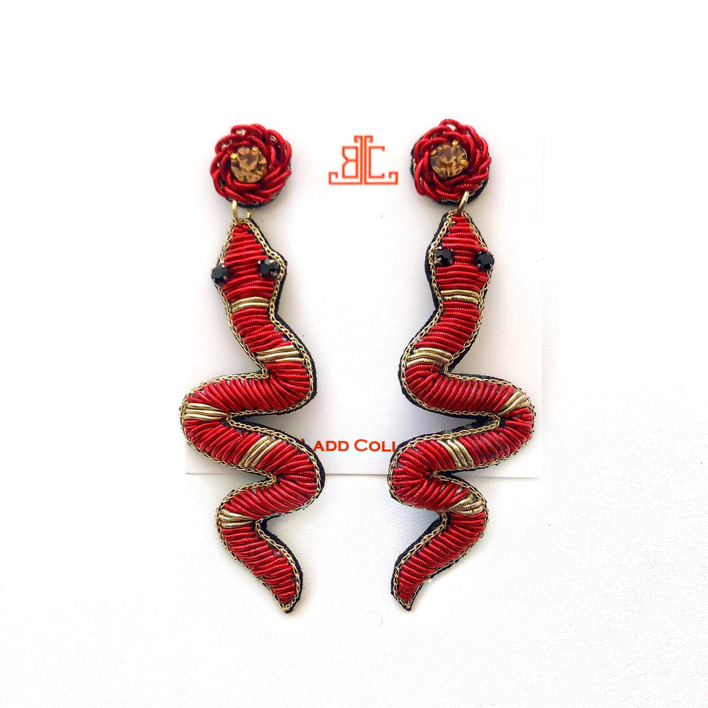 Handmade Snake Earrings in Red