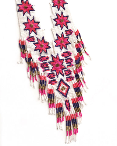 Starburst Hand Beaded Fringe Necklace